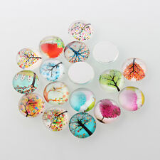 5 Tree of Life 12mm Half Round Domed Glass Cabochons (BOX53)