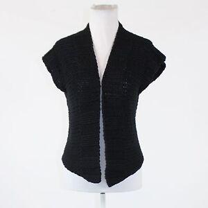 Black-cotton-blend-KENNETH-COLE-NEW-YORK-cap-sleeve-multi-knit-swing-sweater-S