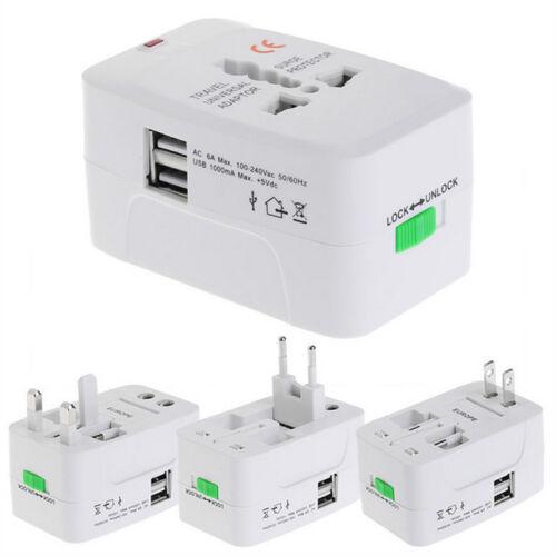 World Travel Universal Adapter Converter With Dual USB Charger AU//UK//US//EU Plug