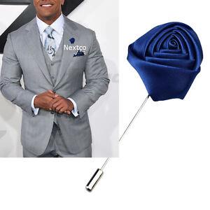 Lapel Flower Blue Boutonniere Stick Brooch Pin Men s Shirt Suit Tie ... dacedac4e