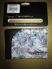 NEW Billabong WALLET BIFOLD ID Slim Faux Leather PU Men's Boy's Grey Floral