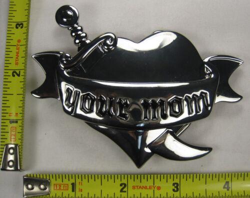 YOUR MOM METAL BELT BUCKLE HEART /& SWORD FREE S//H B222