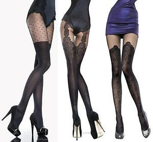 Fiore Collection Patterned Tights 40 Denier Mock Suspender Stockings Tights new