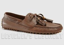 GUCCI mens 11.5G* brown URBAN Bamboo tassels Driving MOCCASINS shoes NIB Authent