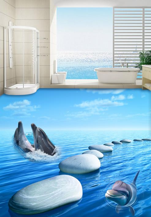 3D Stone Dolphins 932 Floor WallPaper Murals Wall Print 5D AJ WALLPAPER UK Lemon