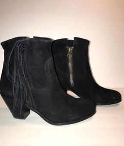 9f04a4f8ca58e9 Sam Edelman Louie Fringed Booties Black Suede Women s Size 7.5 M Zip ...