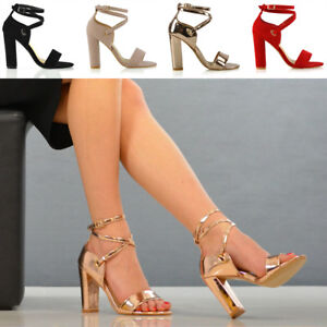 3047dac27 Womens Strappy Sandals Block Mid High Heel Ladies Open Toe Evening ...