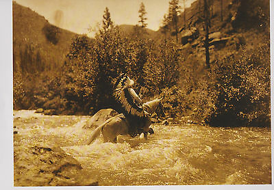 "Edward S.Curtis ""Bull Chief Wearing Warbonnet""  Sepia, Art Print---"