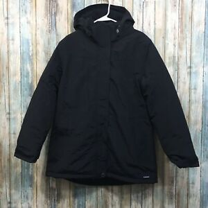 Lands-End-Squall-Womens-Medium-10-12-Black-Zip-Up-Hooded-Insulated-Winter-Coat