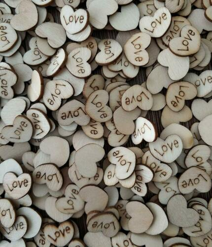 Satomoto 500Pcs Wooden Hearts Love Wood Table Confetti For Rustic Wedding Table