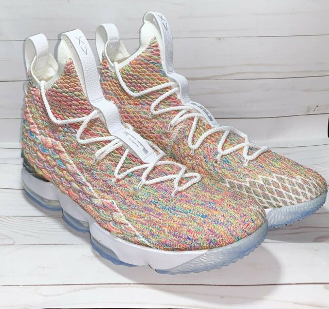 new product 19fe6 6139c Nike LeBron XV 15 James LBJ Cereal Fruity Pebbles Size 15 White 897648 900