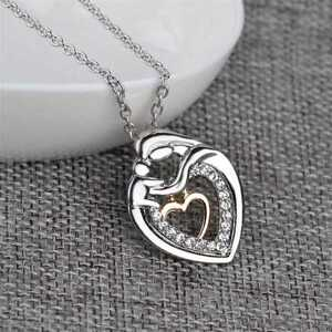 Mom-And-Baby-Charms-Silver-Crystal-Heart-Love-Pendant-Necklace-NEW-TYPE