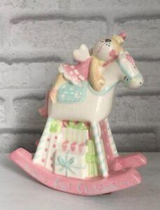 Baby Girl Pink Rocking Horse Money Bank