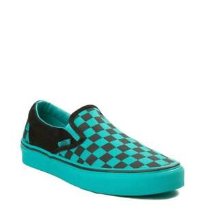 23aef25c61f74 Details about Vans Slip On Chex Skate Shoe Black Aqua Checkerboard New