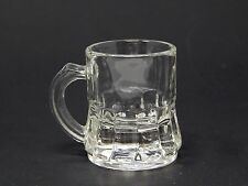 Federal Glass Clear Miniature Beer Mug Shot Glass Signed F with Shield