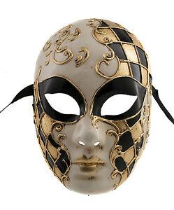 Maschera Veneziano Per Ballo Costume- Verde E Dorata 1380 V59