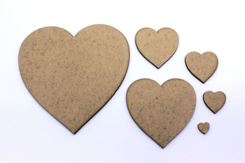Love Heart Craft Shape Tags Decorations 2mm MDF Wood Topper Embellishments