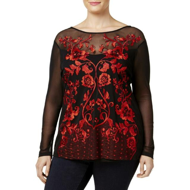 daec04f0768 INC Womens Embroidered Floral Print Long Sleeve Blouse Top Plus BHFO 2050