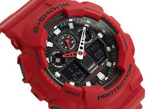 Casio-G-Shock-Mens-Digital-Wrist-Watch-GA100B-4A-GA-100B-4A-Red-Digi-Analog-New