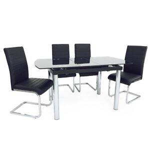 Verre Noir Chrome Pieds Compact Extension Table Salle à Manger Set ...