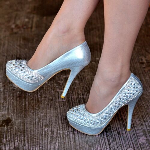 Ladies Diamante High Heel Shoes Jewel Platform Silver Pumps Party Evening Size