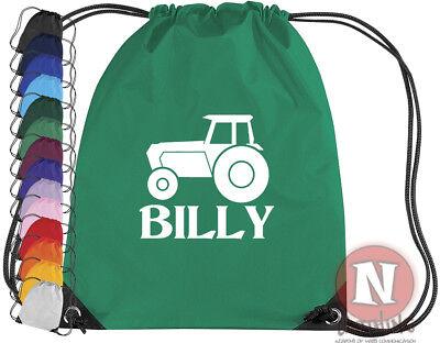 Drawstring Backpack Green Tractor Rucksack