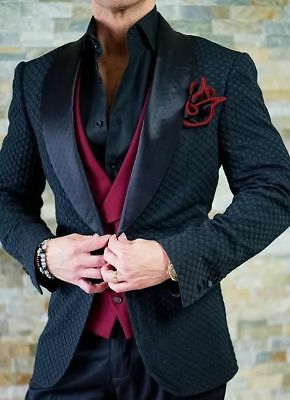 Men S Black Jacket Grid Paisley Tuxedos Groom Prom Wedding Suit British Style Ebay