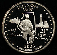 2003-S State Quarter Illinois Gem Proof DCAM CN-Clad Coin Uncirculated