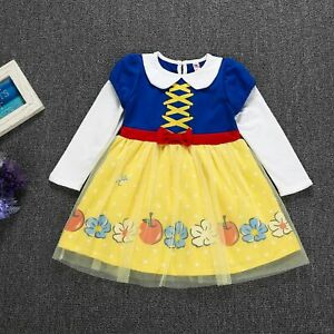 New Girls Snow White Princess Costume Long Fancy Halloween Party Dress Cosplay
