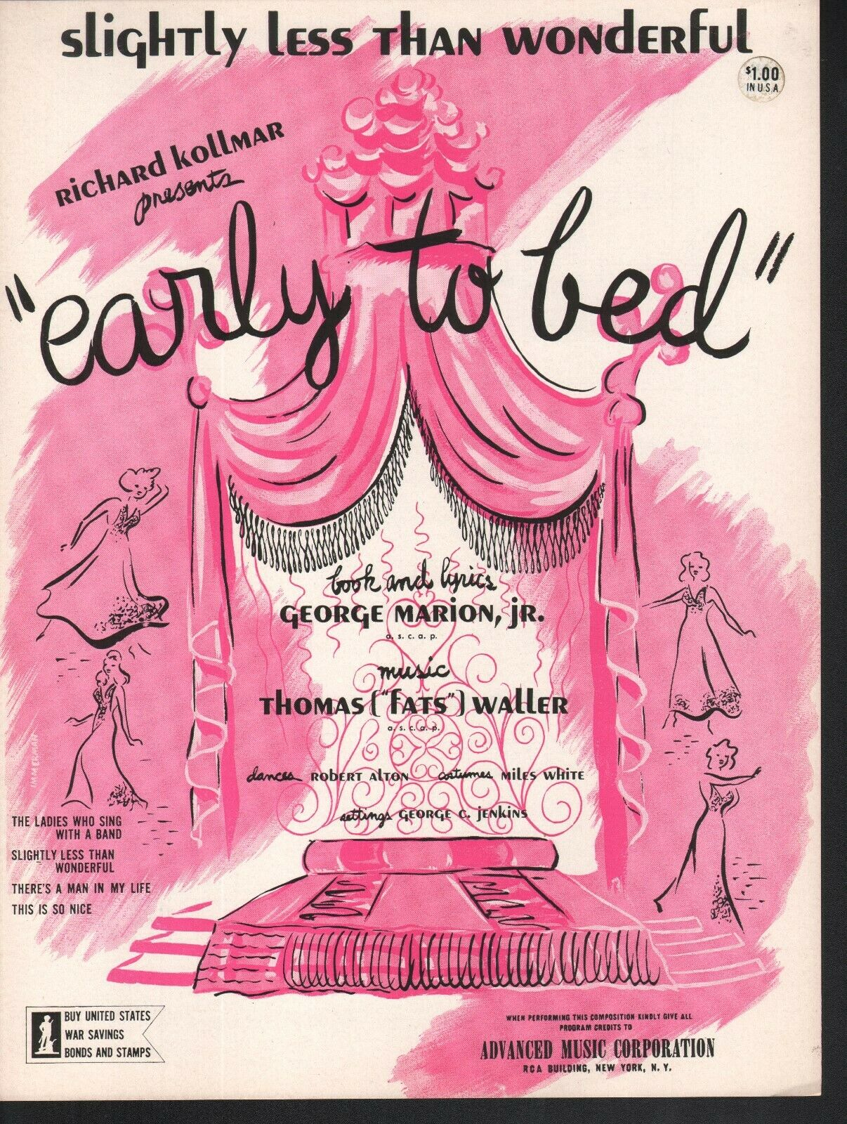 Slightly Less Than Wonderful 1943 Fats Waller Early Early Early To Bed Sheet Music 444c3f