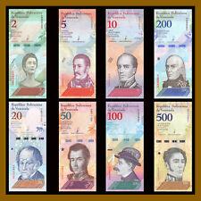 Venezuela 2 5 10 20 50 100 200 500 Bolivares Soberanos (8 Pcs Full Set) 2018 New