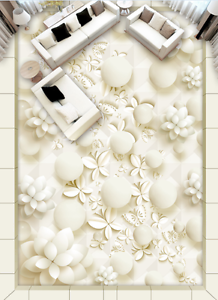 3D blancoo Flor Papel de parojo de bola de 94 Piso Impresión De Parojo Murales AJ Wallpaper Reino Unido Limón