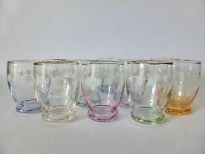 Rainbow-Harlequin-Drinking-Glasses-Set-of-10-Shot-Glasses-with-Frosted-Detail