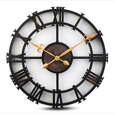"Large Wall Clock Vintage Watch Home Decor Creative Retro Roman Resin 17"""