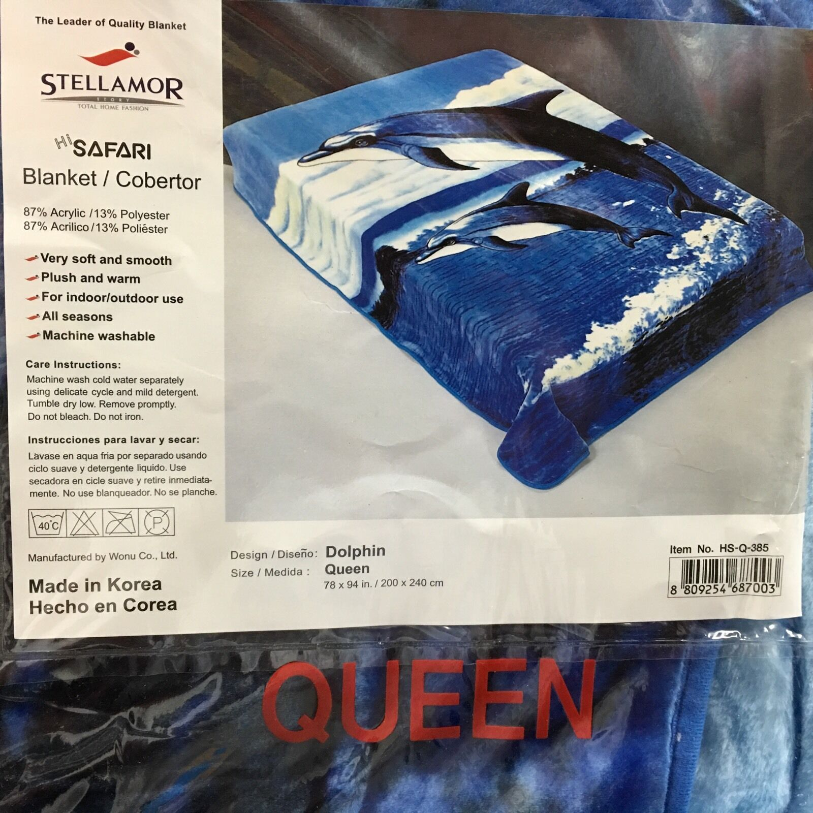 Wonu Hi-Safari Stellamor Original Acrylic Queen Größe Korean Dolphin Blanket