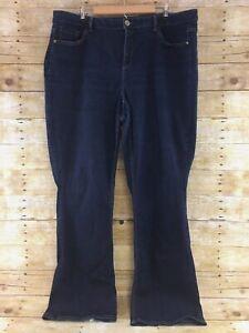 Lane-Bryant-Boot-Cut-Jeans-Womans-22-Long-Genius-Fit-Dark-Wash-Stretch
