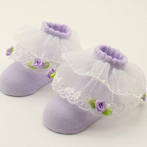 Toddler Girls Baby Princess Kids Cotton Socks Sheer Ribbon Tutu Lace Sock 0-12M