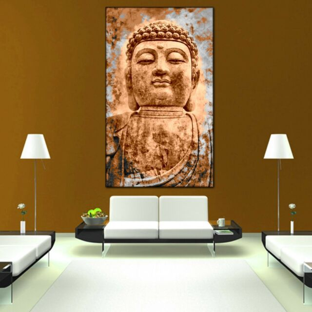 Buddha sepia Panoramabild Feng Shui Leinwand  Poster XXL 150 cm*50 cm 643