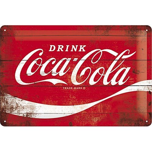 na Coca Cola Logo Red Wave embossed steel sign 300mm x 200mm