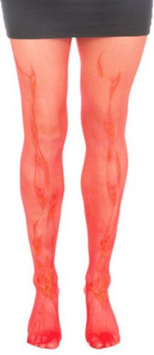 Flame Print Tights Pantyhose Stockings Devil Costume Halloween Red Lurex