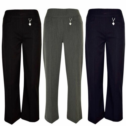NEW Girls KIDS School Uniform Heart buckle HALF ELASTIC Trousers Pants SIZE 2//16