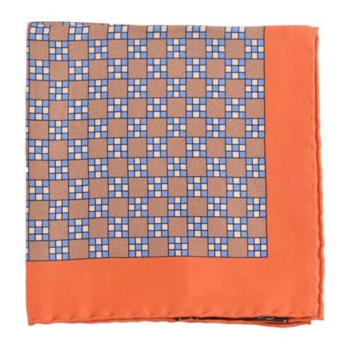 Cesare Attolini Navy Orange /& Tan Silk Pocket Square NWT Handmade Italy
