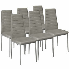 6 Modern Dining Chairs Dining Room Chair Table Faux Leather Furniture Cozy Grey