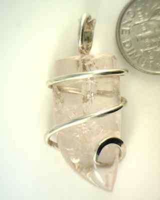 White Kunzite Sterling Silver Wire Wrapped Pendant