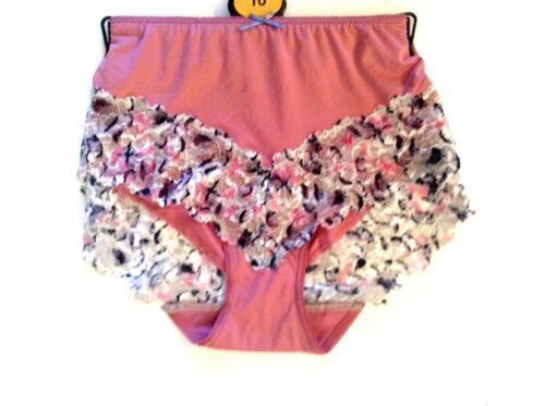 4 ladies ex store lycra and lace pink full briefs for £5.00