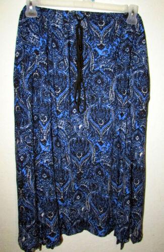 Womans Plus 3X Kerchief Hem Draw String Rayon Print 30 Inch Length Skirt NEW