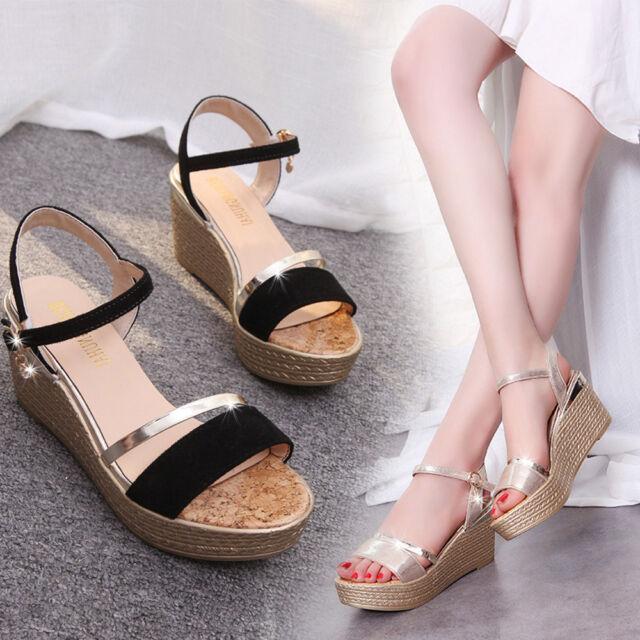 45f4e075569 Sandals Shoes Women Muffin Fish Head Wedges Bling Sandals Platform High Heel