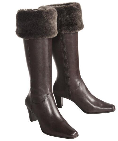 Nuevo Nuevo Nuevo Mujeres Rodilla Alto Ancho Pantorrilla Sudini Impermeable Bota De Cuero Talón Zapato Talla 9 W  precios mas bajos