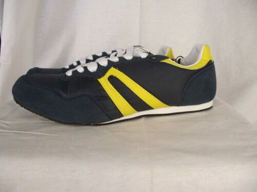 BNWT Older Boys Sz 2 Rivers Doghouse Cool Navy and Yellow Lace Up Jogger Shoes