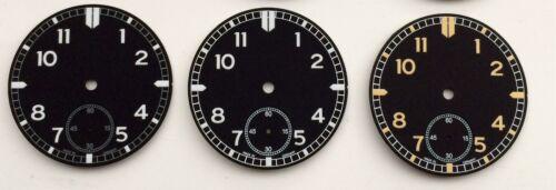 PILOT FLIEGER DIAL ETA 6498-1 D= 38.2mm BLACK GERMANY C1 UNITAS 6498 NEW!